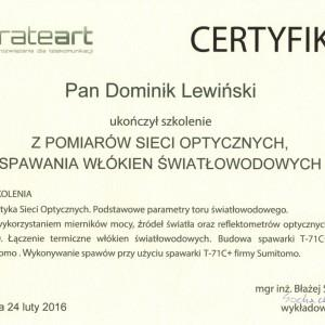 certyfikat z szkolenia pomiarów sieci optycznych